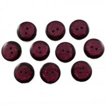 Dark Glitter Buttons 25mm Burgundy Pack of 10