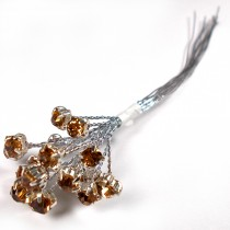 Diamante Branch - Crystal Effect Spray 4mm Diamante 14cm Wire Amber in Silver