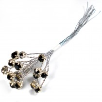 Diamante Branch - Crystal Effect Spray 4mm Diamante 14cm Wire Black in Silver