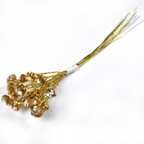 Diamante Branch - Crystal Effect Spray 4mm Diamante 14cm Wire Clear in Gold
