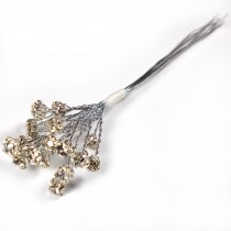 Diamante Branch - Crystal Effect Spray 4mm Diamante 14cm Wire Clear in Silver