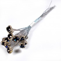 Diamante Branch - Crystal Effect Spray 4mm Diamante 14cm Wire Dark Blue in Silver