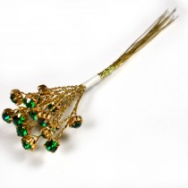 Diamante Branch - Crystal Effect Spray 4mm Diamante 14cm Wire Green in Gold