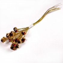 Diamante Branch - Crystal Effect Spray 4mm Diamante 14cm Wire Red in Gold