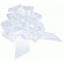 Organza Pull Bow Large 50mm Eleganza White
