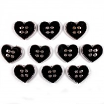 Enamel Metal 4 Hole Heart Silver Colour Buttons 16mm Black Pack of 10