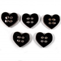 Enamel Metal 4 Hole Heart Silver Colour Buttons 11mm Black Pack of 5