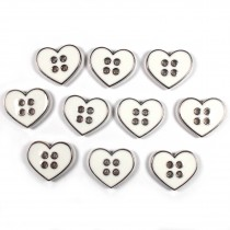 Enamel Metal 4 Hole Heart Silver Colour Buttons 16mm White Pack of 10