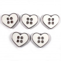 Enamel Metal 4 Hole Heart Silver Colour Buttons 11mm White Pack of 5