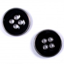 Enamel Metal 4 Hole Round Shirt Buttons 9mm Black Pack of 2