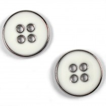 Enamel Metal 4 Hole Round Shirt Buttons 11mm White Pack of 2
