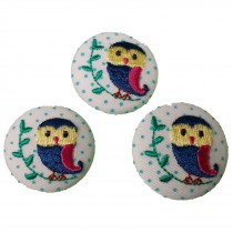 Fabric Covered Woodland Animal Buttons 30mm Blue Polka Dot Owl Pack of 3