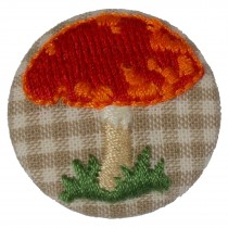 Fabric Covered Woodland Buttons 30mm Checked Stitched Toadstool Pack of 1