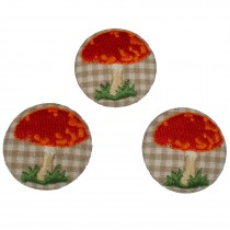 Fabric Covered Woodland Buttons 30mm Checked Stitched Toadstool Pack of 3