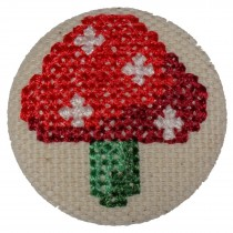 Fabric Covered Woodland Buttons 30mm Cross Stitch Toadstool Pack of 1