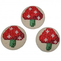 Fabric Covered Woodland Buttons 30mm Cross Stitch Toadstool Pack of 3