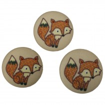 Fabric Covered Woodland Animal Buttons 33mm Fox Pack of 3