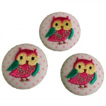 Fabric Covered Woodland Animal Buttons 30mm Pink Polka Dot Owl Pack of 3