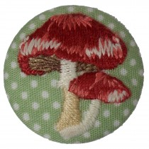 Fabric Covered Woodland Buttons 30mm Polka Dot Stitched Toadstool Pack of 1