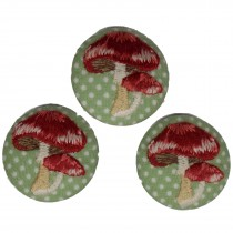 Fabric Covered Woodland Buttons 30mm Polka Dot Stitched Toadstool Pack of 3