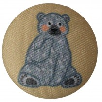 Fabric Covered Woodland Animal Buttons 33mm Seated Bear Pack of 1