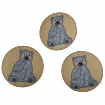 Fabric Covered Woodland Animal Buttons 33mm Seated Bear Pack of 3