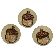 Fabric Covered Woodland Buttons 20mm Stitched Acorn Pack of 3