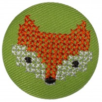 Fabric Covered Woodland Animal Buttons 33mm Stitched Fox Pack of 1