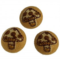 Fabric Covered Woodland Buttons 20mm Stitched Toadstool Pack of 3