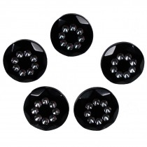 Acrylic Buttons with Faux Diamante Circle Design 15mm Black Pack of 5