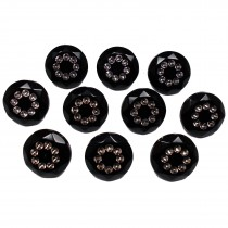 Acrylic Buttons with Faux Diamante Circle Design 15mm Black Pack of 10
