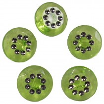 Acrylic Buttons with Faux Diamante Circle Design 11mm Green Pack of 5