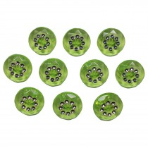 Acrylic Buttons with Faux Diamante Circle Design 15mm Green Pack of 10