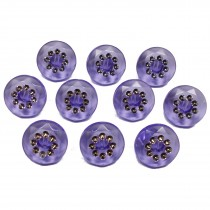 Acrylic Buttons with Faux Diamante Circle Design 15mm Lilac Pack of 10