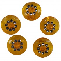 Acrylic Buttons with Faux Diamante Circle Design 15mm Orange Pack of 5