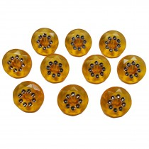 Acrylic Buttons with Faux Diamante Circle Design 15mm Orange Pack of 10