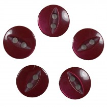 Fisheye Basic Buttons 11mm Burgundy Pack of 5