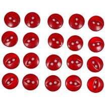 Fisheye Basic Buttons 11mm Shiny Red Pack of 20
