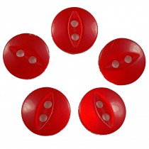 Fisheye Basic Buttons 14mm Shiny Red Pack of 5
