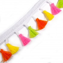 Tassle / Tassel Fringe Trim on Braid 3.5cm Wide Orange Yellow Pink and Green 1 metre length
