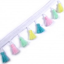 Tassle / Tassel Fringe Trim on Braid 3.5cm Wide Yellow Blue Pink and Green 1 metre length
