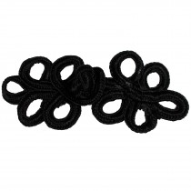 Fabric Swirl Frog Fastener Knot Button Closure 7.5cm - 8cm Black