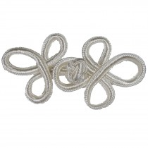 Fabric Swirl Frog Fastener Knot Button Closure 7.5cm - 8cm Cream