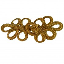 Fabric Swirl Frog Fastener Knot Button Closure 7.5cm - 8cm Gold