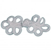 Fabric Swirl Frog Fastener Knot Button Closure 7.5cm - 8cm White