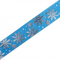 Frosty Snowflake Winter Xmas Satin Ribbon 16mm wide Blue 1 metre length