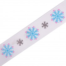 Frosty Snowflake Winter Xmas Satin Ribbon 16mm wide White 1 metre length