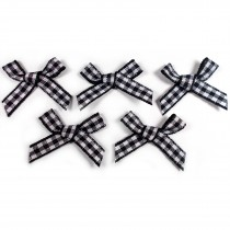 Gingham Check Ribbon Bows 5.5cm wide Black Pack of 5