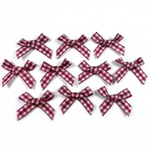 Gingham Check Ribbon Bows 3cm wide Burgundy Pack of 10