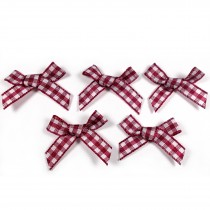 Gingham Check Ribbon Bows 3cm wide Burgundy Pack of 5